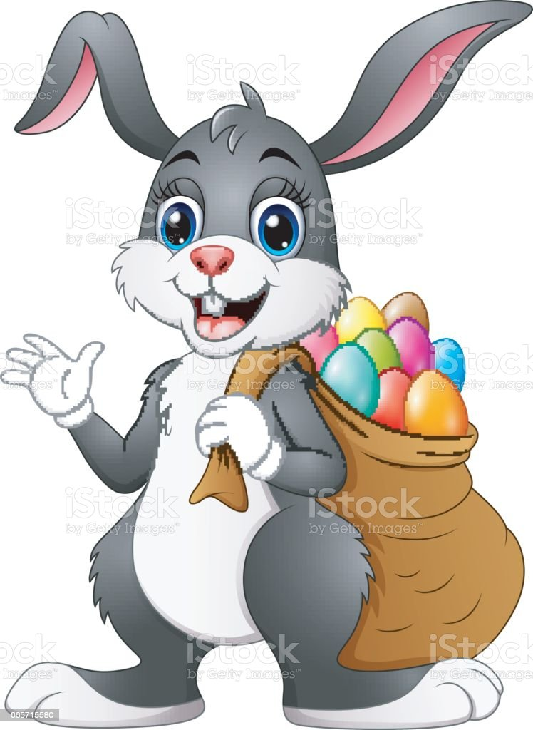 Easter bunny rabbit with easter eggs a sack of full