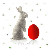 Easter Bunny Red Easter Egg. An original artwork vector illustration. This inspirational design can be a postcard, web banner, shop window, invitation, poster or flyer.