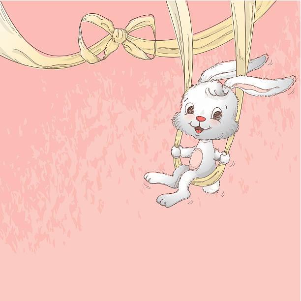 Easter bunny ribbon swing vector art illustration