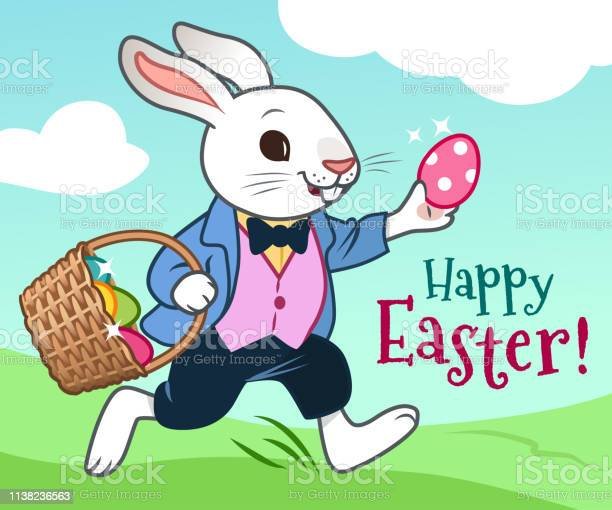 Easter bunny running in a field with basket full of colorful eggs vector id1138236563?b=1&k=6&m=1138236563&s=612x612&h=zvseqncbkkscr8p resnhwywtfy4ptq0ulufzv0zzv4=