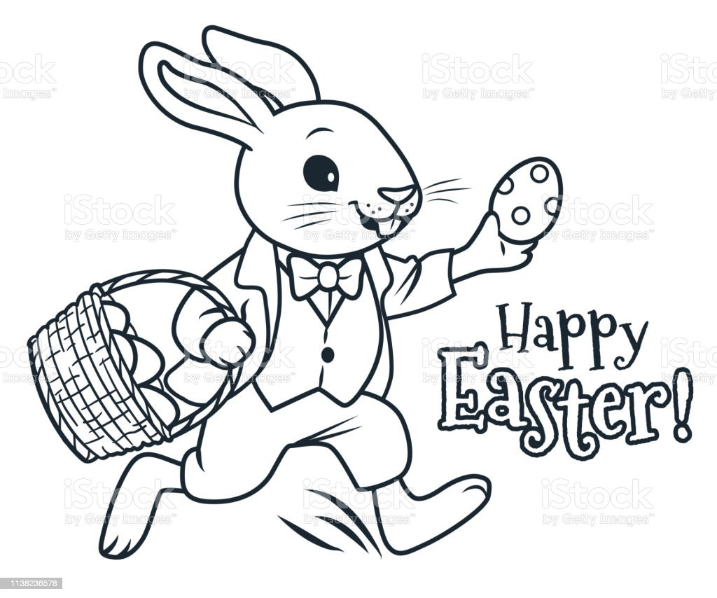 Easter Bunny Running With Basket Full Of Chocolate Eggs Coloring Page  Vector Cartoon Illustration Spring Easter Egg Hunt Childrens Party Activity