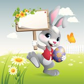 - bunny holding blank sign