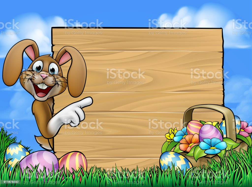 Easter Bunny Sign vector art illustration