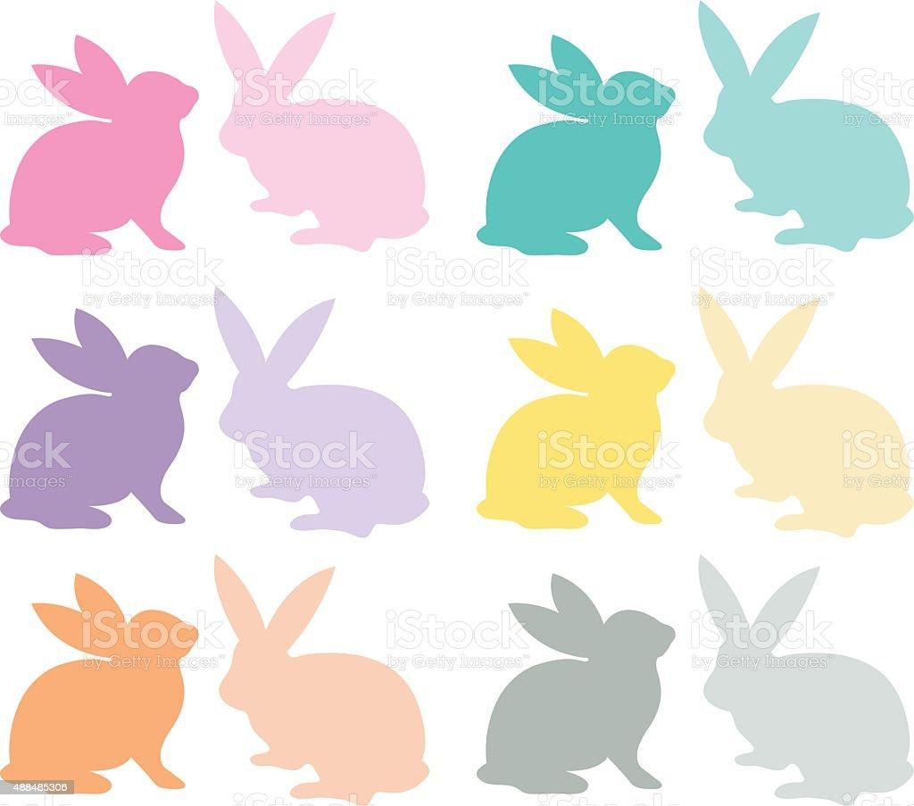 Easter Bunny Silhouette set vector art illustration