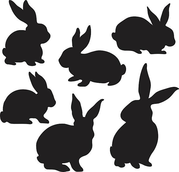 easter bunny silhouette - kaninchen stock-grafiken, -clipart, -cartoons und -symbole