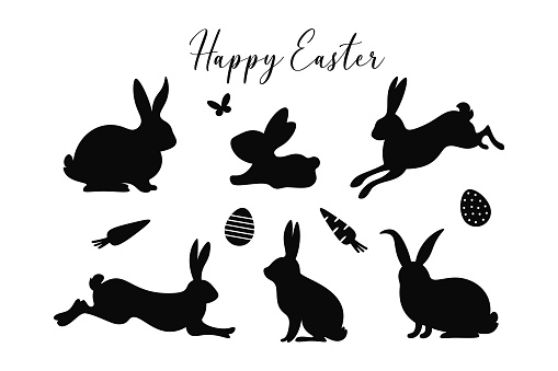 Easter bunny silhouettes set. Happy Easter. Cute spring bunnies with butterfly, eggs, carrots and text. Easter designs.