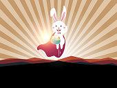 Easter bunny superhero holding easter egg.