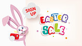 Easter Bunny taking selfie next to textual signboard,Easter sale web banner,vector illustration of online shopping website