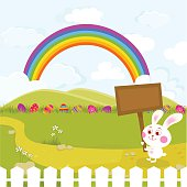 Easter Bunny carrying a signboard.