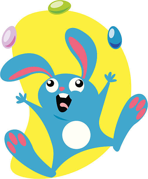 Easter Bunny A silly Easter Bunny juggling easter eggs! heyheydesigns stock illustrations