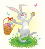 Illustration of Easter bunny with Easter eggs