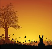 Spring Background with Easter Bunny. ZIP contains AI format, PDF and jpeg XXXLarge.