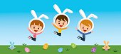 Happy Easter! All happy bunnies with rabbit and eggs.
