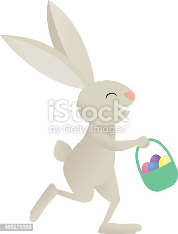 A vector illustration of a rabbit holding a basket of Easter eggs.