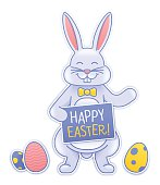 Happy Easter bunny with easter eggs spring design element. EPS 10 file. Transparency effects used on highlight elements.