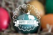 easter bunny vector label on blurred background