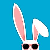 Easter Bunny White Rabbit With Big Ears And Sunglasses