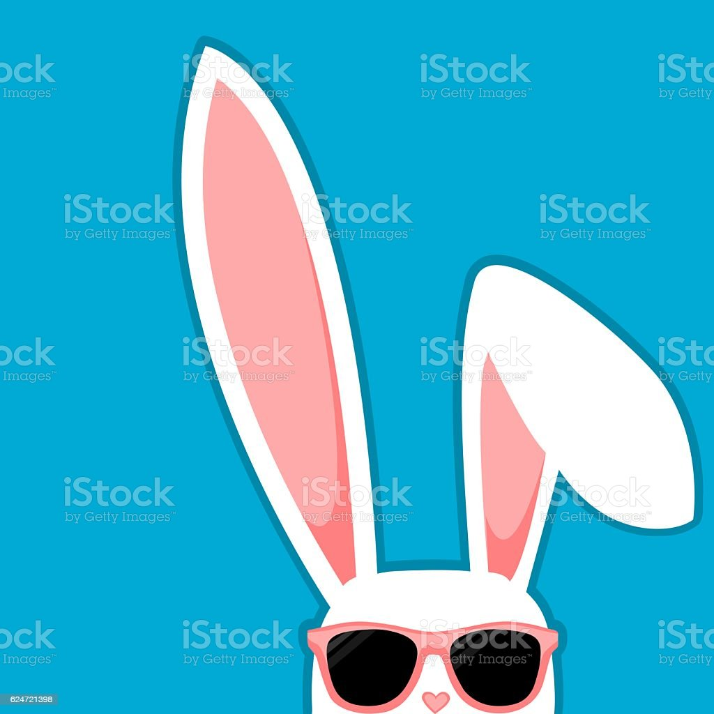 Easter Bunny White Rabbit With Big Ears And Sunglasses vector art illustration