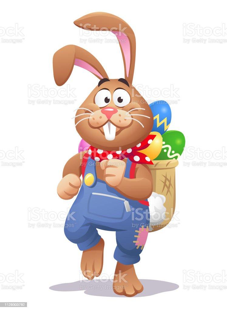 Osterhase mit einem Rucksack voller Ostereier - Lizenzfrei Charakterkopf Vektorgrafik