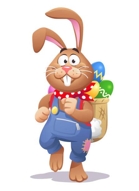 osterhase mit einem rucksack voller ostereier - hase stock-grafiken, -clipart, -cartoons und -symbole
