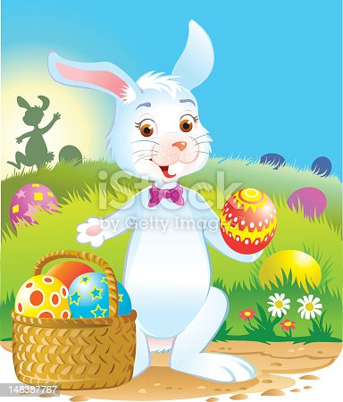 Illustration of a cute Easter Bunny with basket of eggs. Bunny, eggs, basket and backgrounds on separate layers. High resolution JPG and Illustrator 0.8 EPS included.