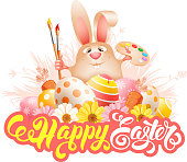 Design for Easter greeting. Cute and cheerful laughs Easter bunny with art paint brushes, palette and painted eggs. Calligraphic inscription Happy Easter. Isolated on white. Vector illustration.