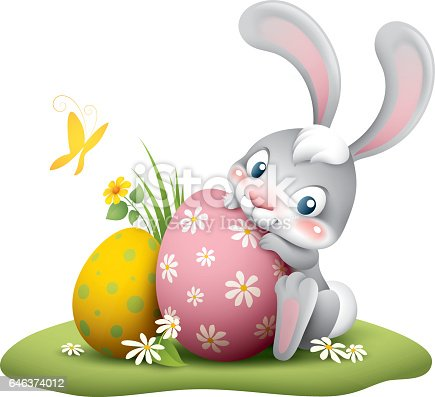 cartoon illustration of cute easter bunny with big egg