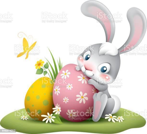 Osterhase Mit Großen Ei Stock Vektor Art und mehr Bilder von Blume
