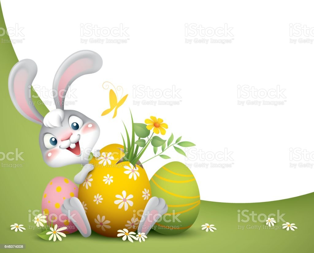 Easter Bunny With Big Eggs Background Stock Vector Art