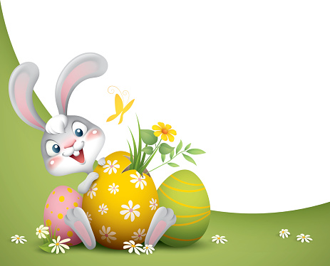 easter bunny with big eggs background