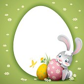 cartoon illustration of cute easter bunny with big eggs