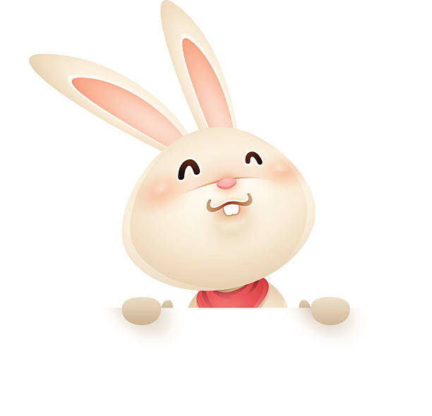 Easter bunny with big sign Easter bunny with blank page. rabbit stock illustrations