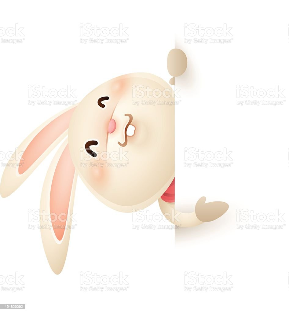 Easter bunny with big sign vector art illustration