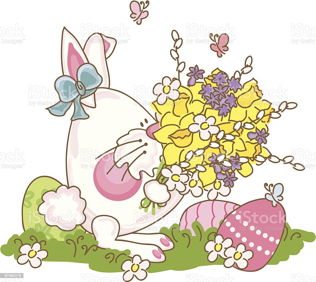 easter bunny with bouquet of spring flowers royalty-free easter bunny with bouquet of spring flowers stock vector art & more images of animal