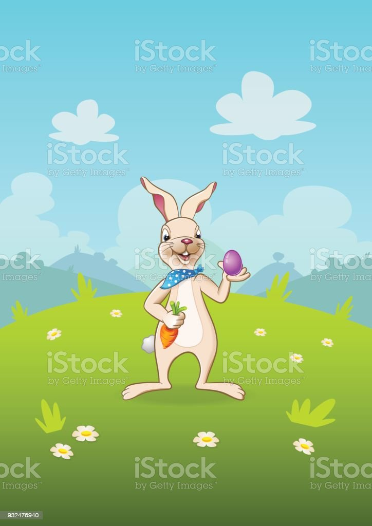 easter bunny with egg and carrot landscape cartoon nature background