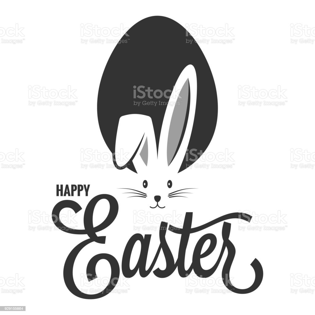 Easter Bunny With Egg Easter Rabbit Ears On White Background Stock ...