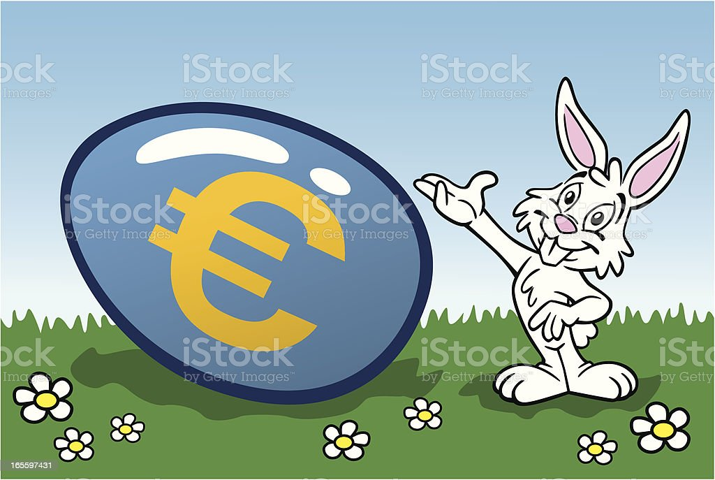 Easter Bunny With Euro Egg royalty-free easter bunny with euro egg stock vector art & more images of animal
