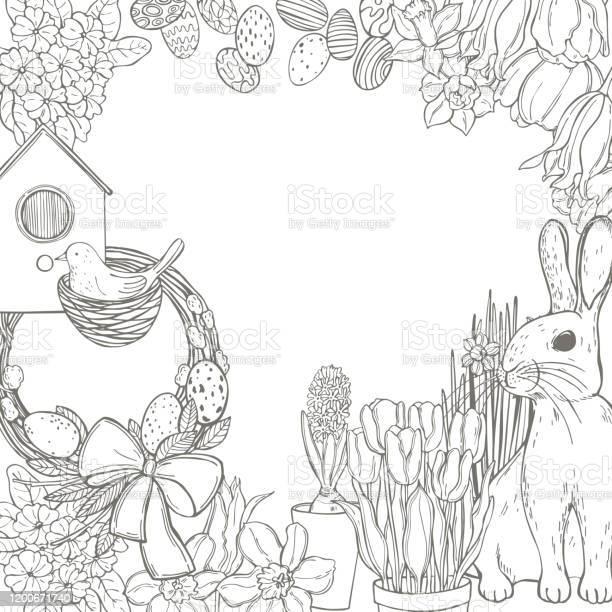Easter bunny with flowers vector illustration vector id1200671740?b=1&k=6&m=1200671740&s=612x612&h=bwvf7xuj3o3vzqht 28fhzfqkfwsynn bjyyh06rbm0=