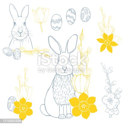 Easter Bunny with flowers. Vector sketch  illustration.