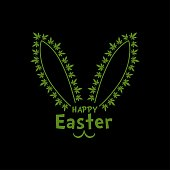Easter bunny with marijuana  leaves vector illustration