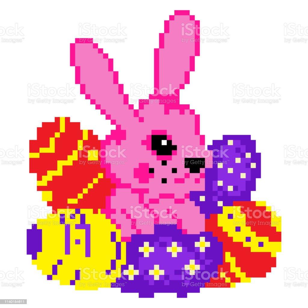 Lapin De Pâques Avec Des Oeufs De Pâques Colorés Parfaits