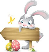cartoon illustration of cute easter bunny leaning on a wood road sign