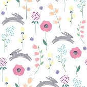 Easter bunny with spring flowers seamless pattern on white background. Cute childlike style holiday background. Cartoon baby rabbit illustration. Easter design for textile, fabric, decor.