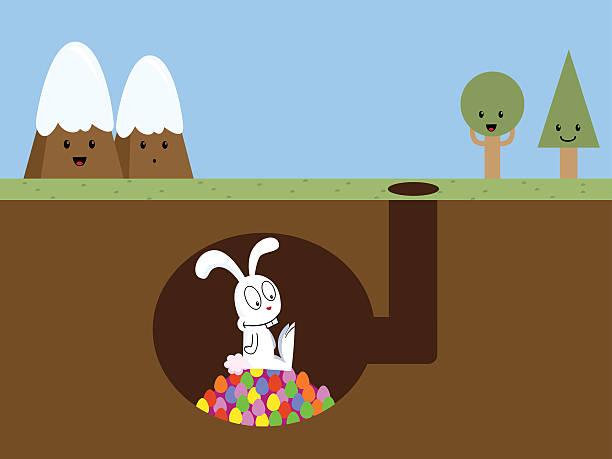 osterhase's home - kaninchenbau stock-grafiken, -clipart, -cartoons und -symbole