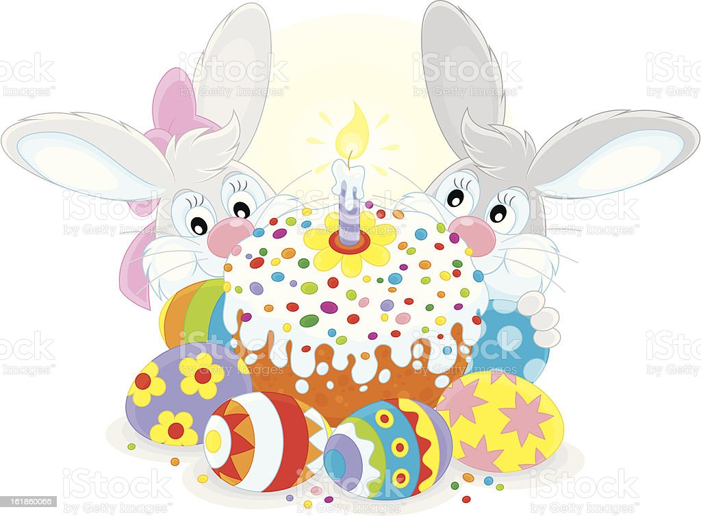 Easter cake and eggs royalty-free stock vector art