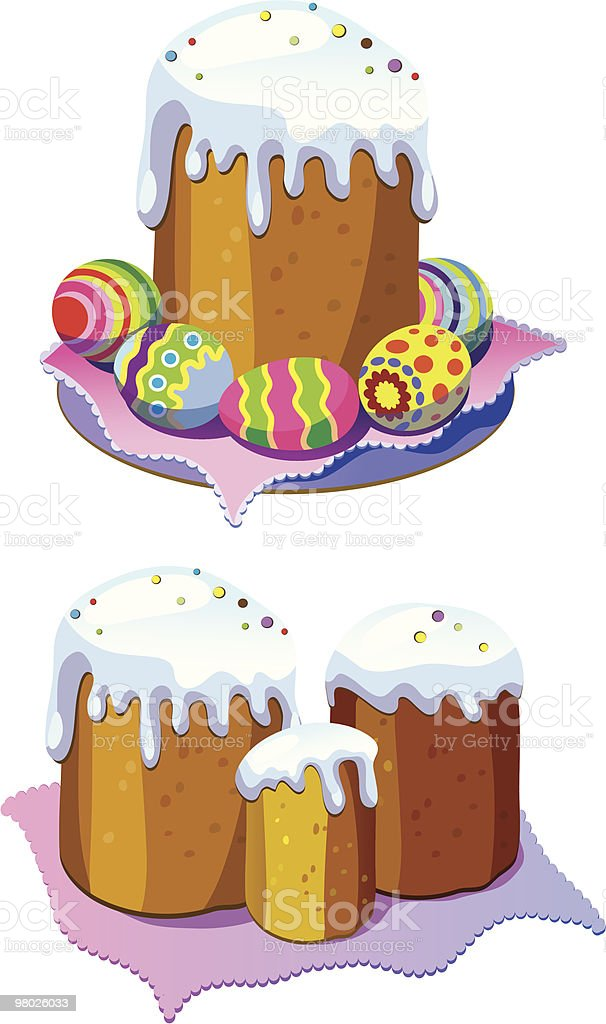 easter cake and eggs royalty-free easter cake and eggs stock vector art & more images of bread