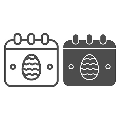 Easter calendar line and solid icon. Date calendar page with egg symbol outline style pictogram on white background. Happy Easter holiday for mobile concept and web design. Vector graphics.