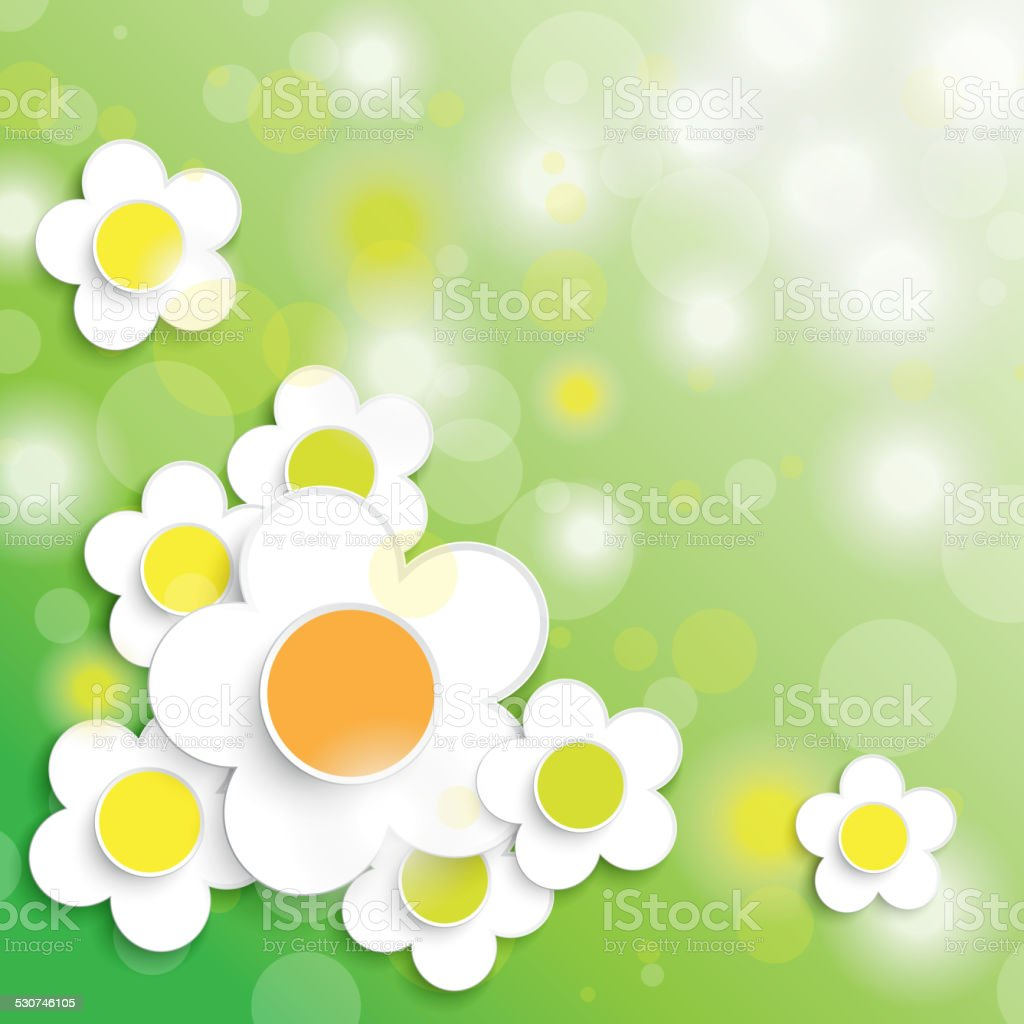 Easter Card Background Big White Flowers Stock Vector Art More