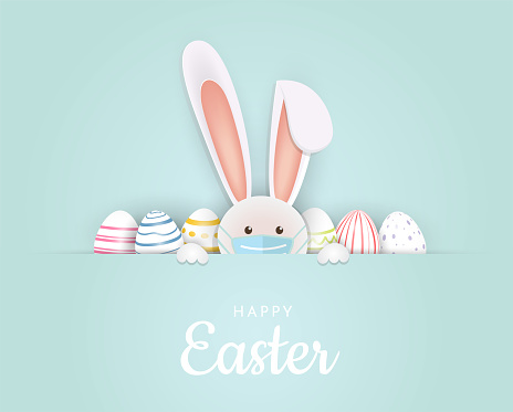Easter card rabbit with face mask and eggs. Vector