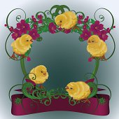 Easter card with floral frame and fluffy yellow chicks. No mash, no transparency. This vector illustration organized by layers, easy to edit. Dounload files include: Illustrator CS5, Illustrator 10 eps, pdf 1.5, SVG 1.1, JPEG 300 dpi .